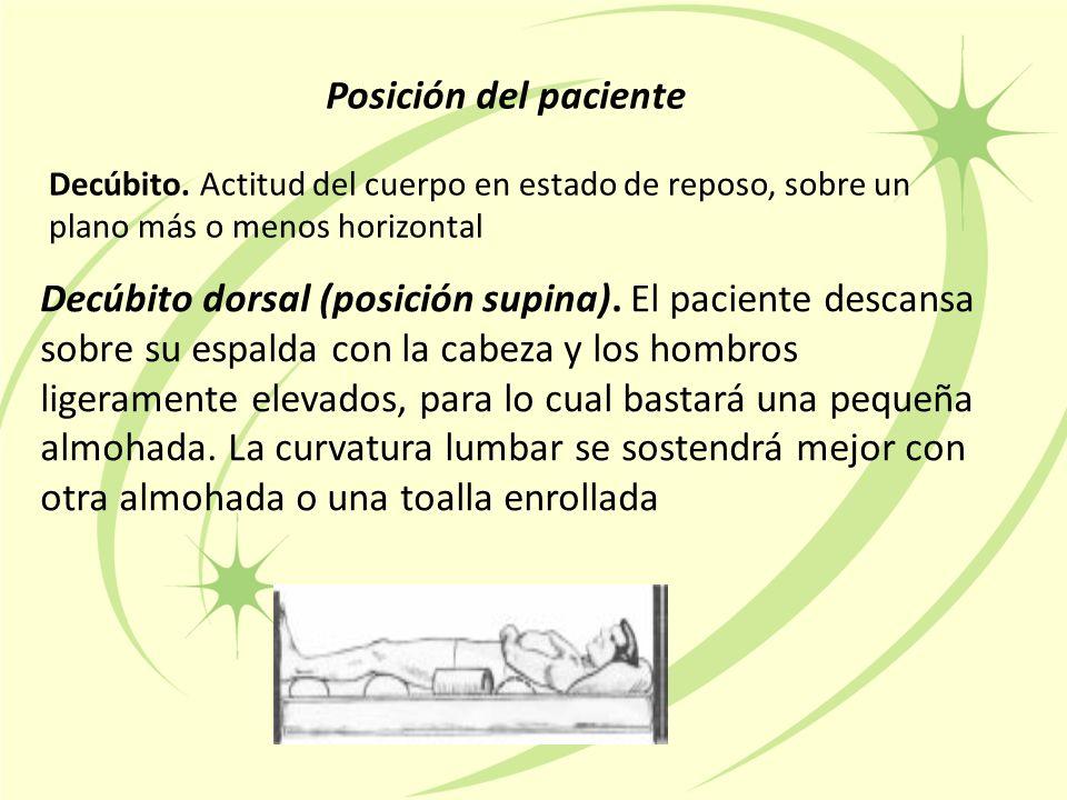 Posición del paciente Decúbito. Actitud del cuerpo en estado de reposo, sobre un plano más o menos horizontal.