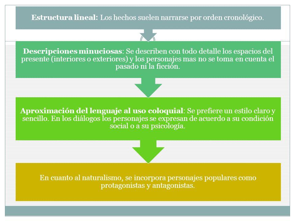 Estructura lineal: Los hechos suelen narrarse por orden cronológico.