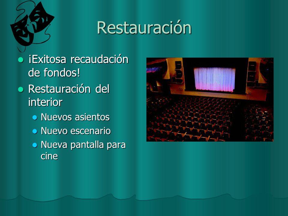 Restauración ¡Exitosa recaudación de fondos! Restauración del interior