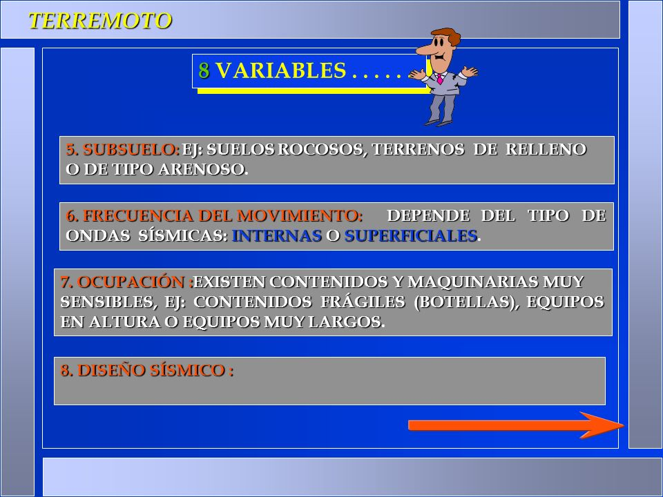 TERREMOTO 8 VARIABLES . . . . . . 5. SUBSUELO: EJ: SUELOS ROCOSOS, TERRENOS DE RELLENO. O DE TIPO ARENOSO.