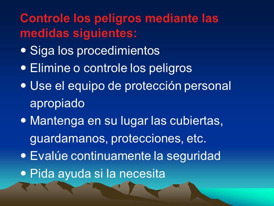 Controle los peligros mediante las medidas siguientes: