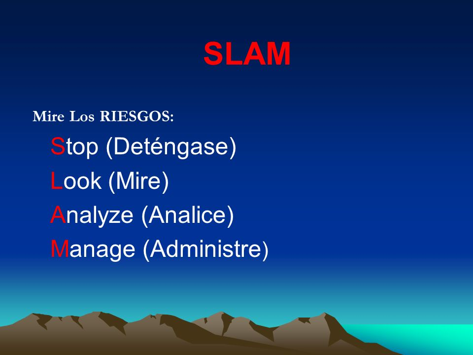 SLAM Look (Mire) Analyze (Analice) Manage (Administre)