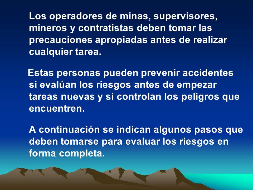 Los operadores de minas, supervisores, mineros y contratistas deben tomar las precauciones apropiadas antes de realizar cualquier tarea.