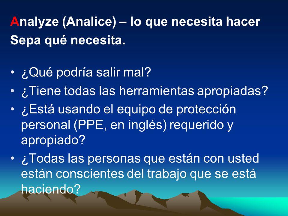Analyze (Analice) – lo que necesita hacer
