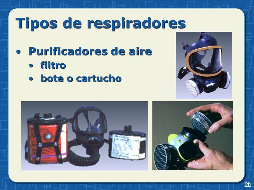 Tipos de respiradores Purificadores de aire filtro bote o cartucho 2b