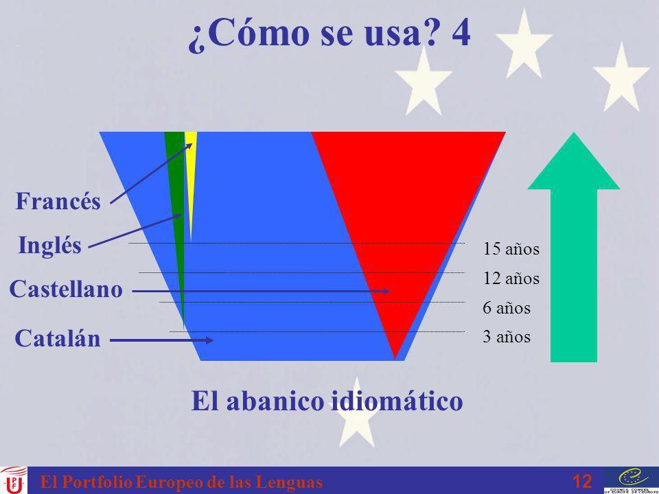 ¿Cómo se usa 4 El abanico idiomático Francés Inglés Castellano