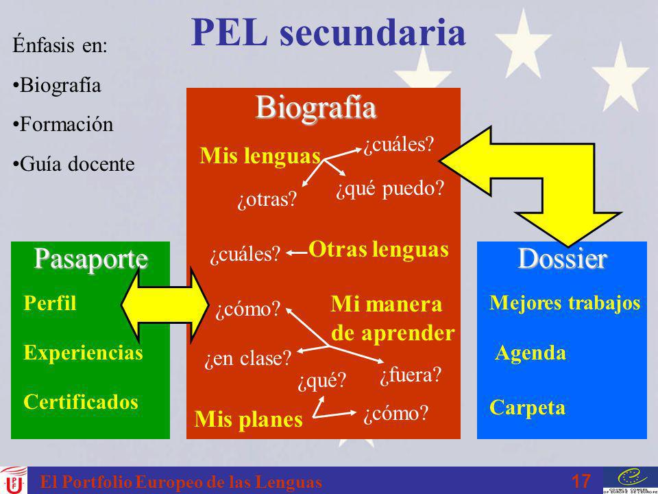 PEL secundaria Biografía Pasaporte Dossier Mis lenguas Otras lenguas