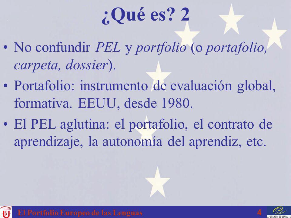 ¿Qué es 2 No confundir PEL y portfolio (o portafolio, carpeta, dossier). Portafolio: instrumento de evaluación global, formativa. EEUU, desde 1980.