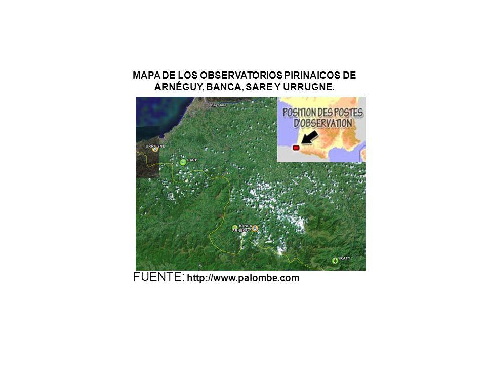 MAPA DE LOS OBSERVATORIOS PIRINAICOS DE ARNÉGUY, BANCA, SARE Y URRUGNE.