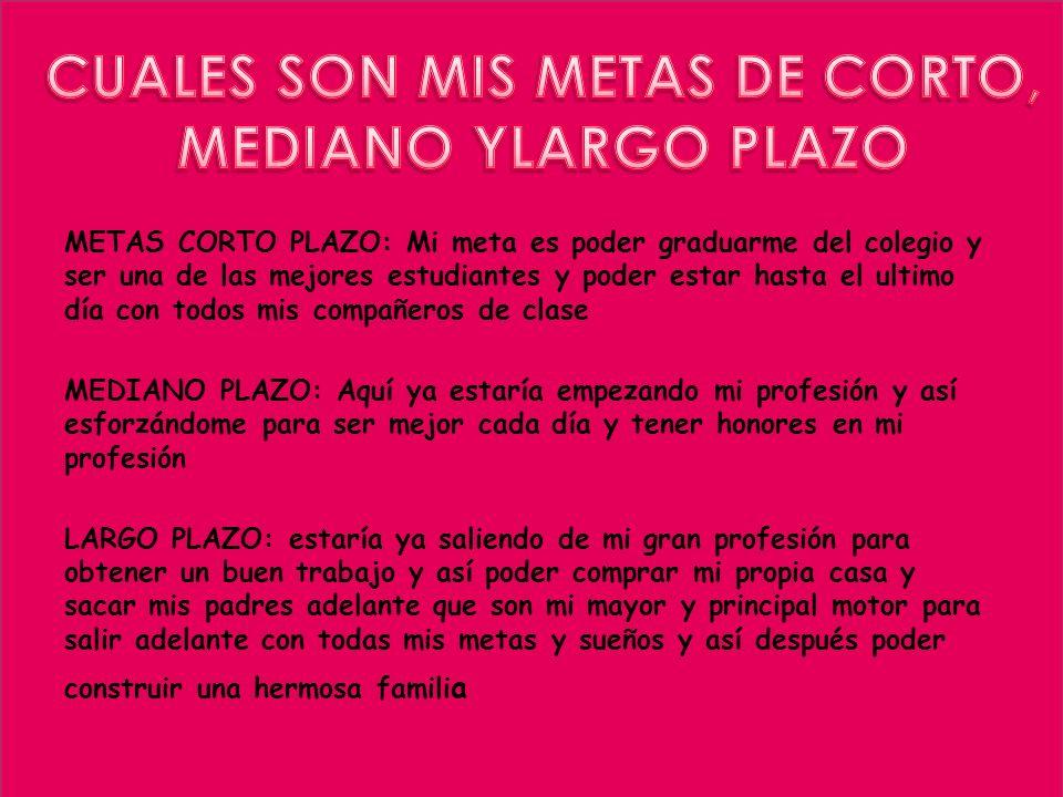 CUALES SON MIS METAS DE CORTO,