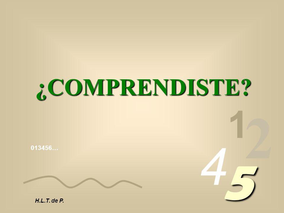 ¿COMPRENDISTE 1 2 4 013456… 5 H.L.T. de P.