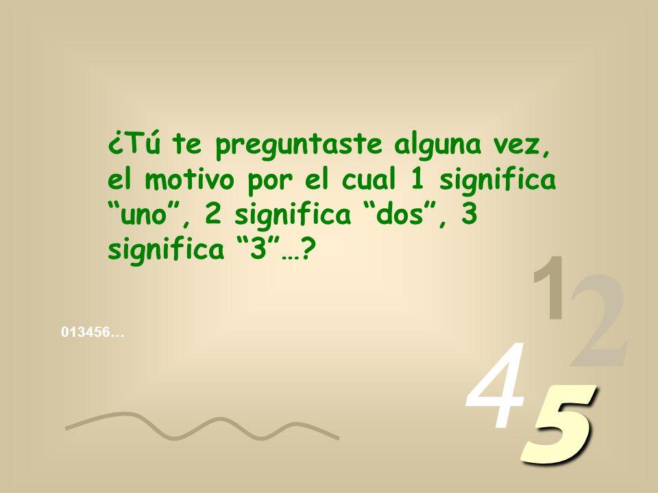 ¿Tú te preguntaste alguna vez, el motivo por el cual 1 significa uno , 2 significa dos , 3 significa 3 …
