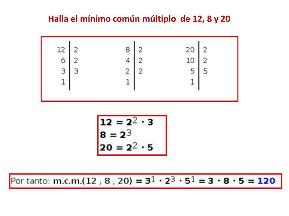 Halla el mínimo común múltiplo de 12, 8 y 20