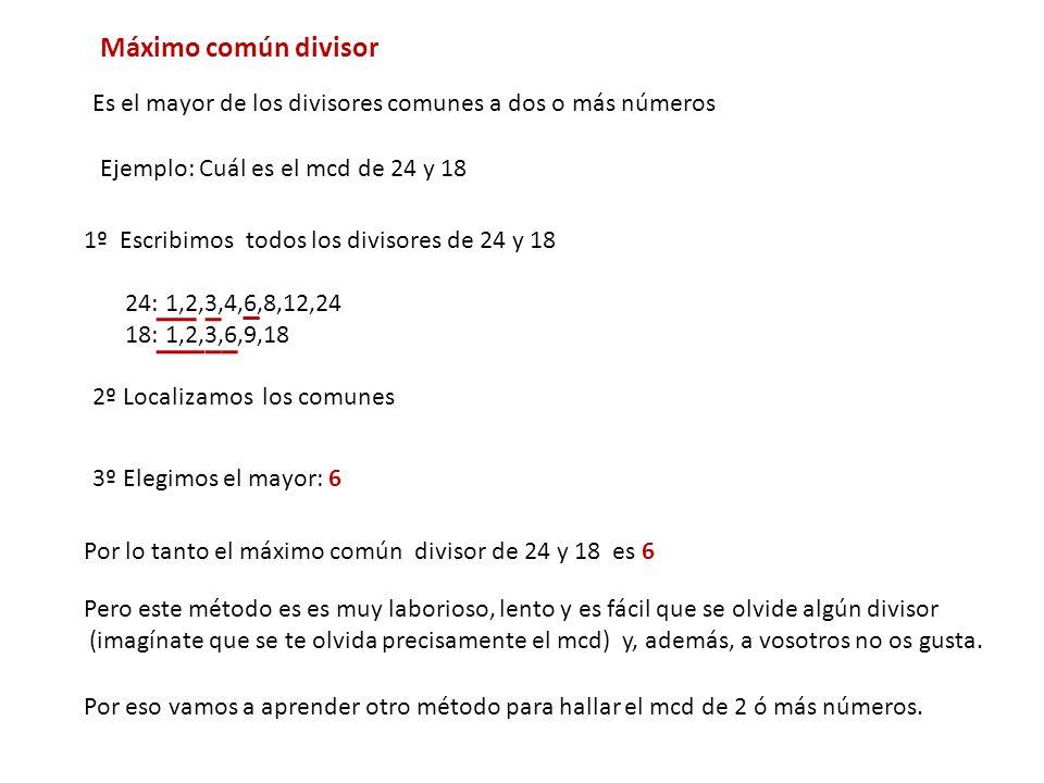 Máximo común divisorEs el mayor de los divisores comunes a dos o más números. Ejemplo: Cuál es el mcd de 24 y 18.