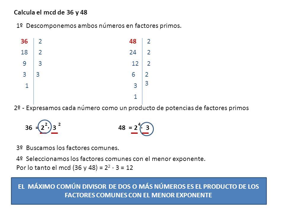 1º Descomponemos ambos números en factores primos.