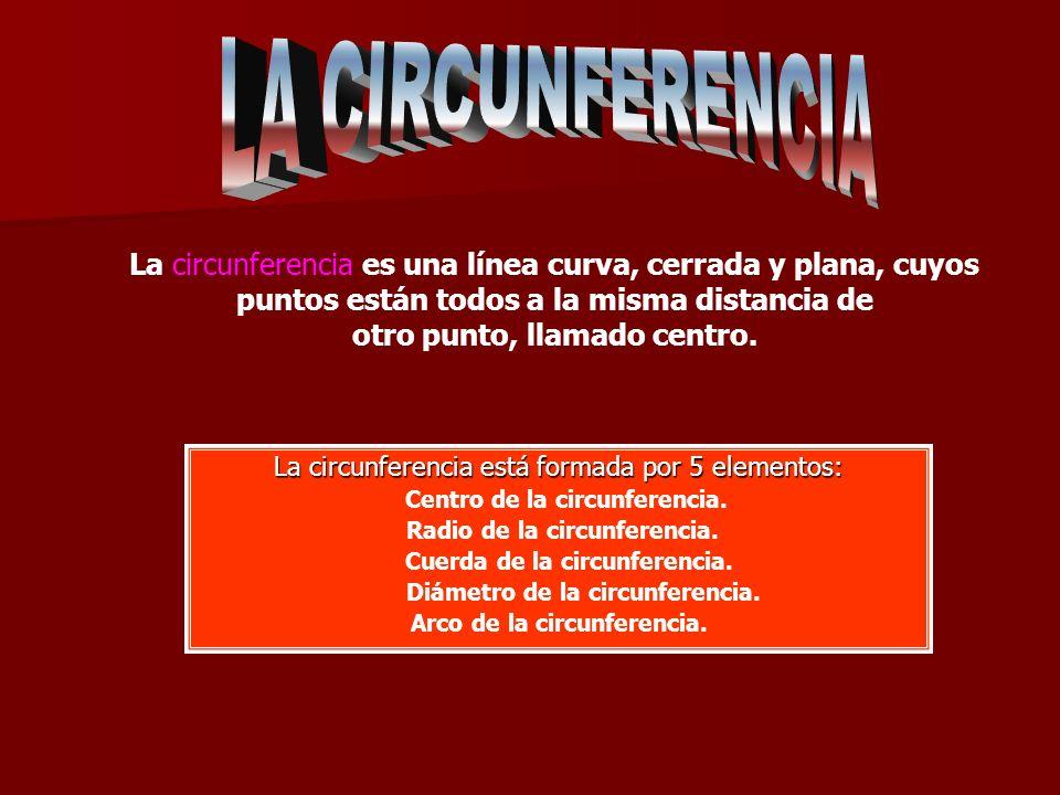Centro de la circunferencia. Diámetro de la circunferencia.