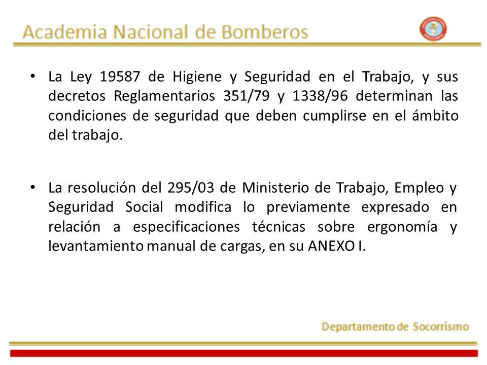La Ley 19587 de Higiene y Seguridad en el Trabajo, y sus decretos Reglamentarios 351/79 y 1338/96 determinan las condiciones de seguridad que deben cumplirse en el ámbito del trabajo.