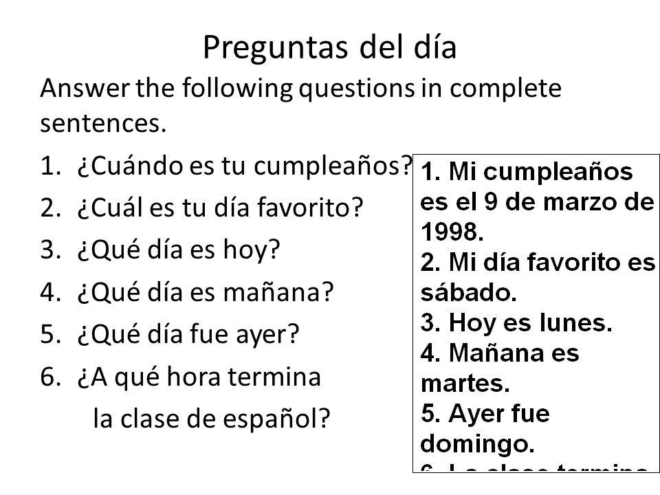 Preguntas del d a answer the following questions in for Que dia lunar es hoy