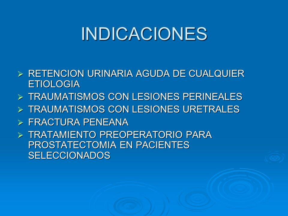 INDICACIONES RETENCION URINARIA AGUDA DE CUALQUIER ETIOLOGIA