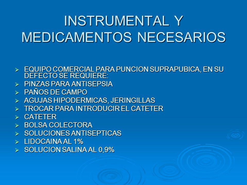 INSTRUMENTAL Y MEDICAMENTOS NECESARIOS