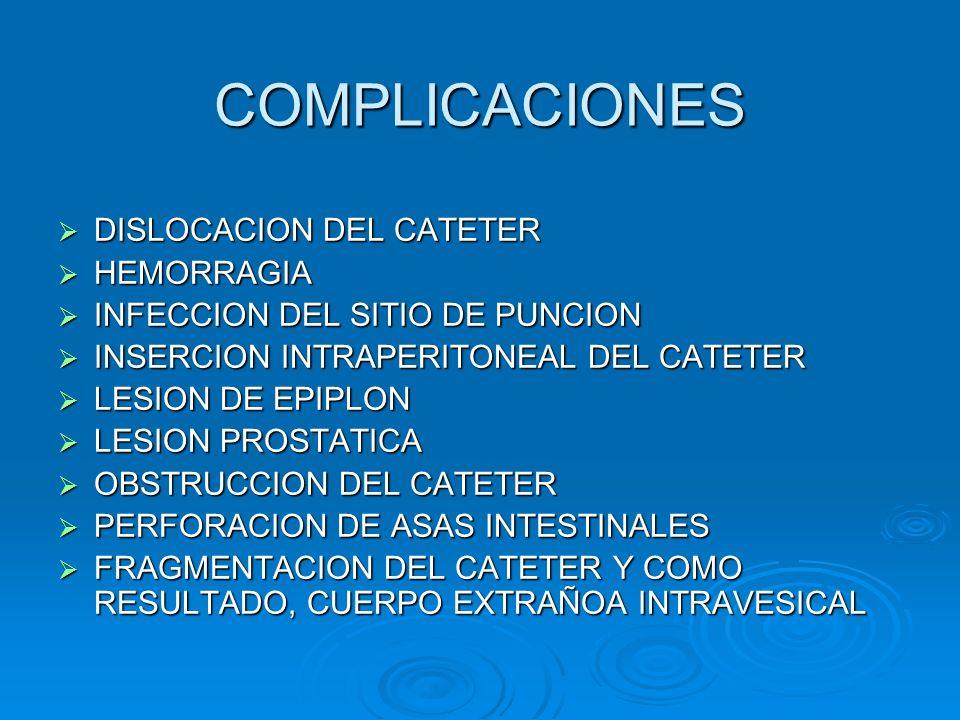 COMPLICACIONES DISLOCACION DEL CATETER HEMORRAGIA