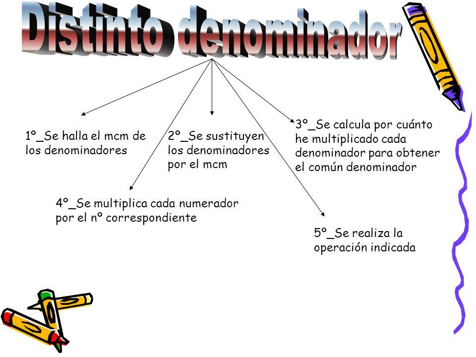 Distinto denominador 3º_Se calcula por cuánto he multiplicado cada denominador para obtener el común denominador.