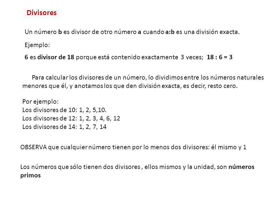 DivisoresUn número b es divisor de otro número a cuando a:b es una división exacta. Ejemplo: