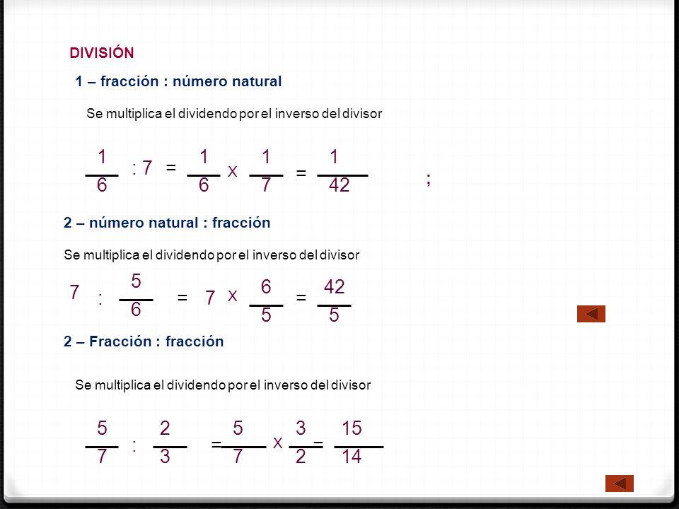 DIVISIÓN 1 – fracción : número natural. Se multiplica el dividendo por el inverso del divisor. 1.