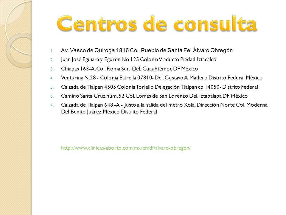 Centros de consulta Av. Vasco de Quiroga 1816 Col. Pueblo de Santa Fé, Álvaro Obregón.