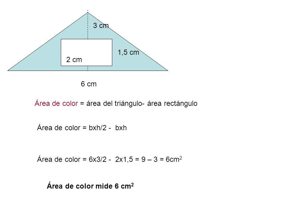 3 cm 1,5 cm. 2 cm. 6 cm. Área de color = área del triángulo- área rectángulo. Área de color = bxh/2 - bxh.