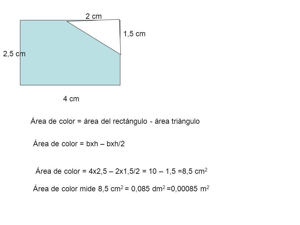 2 cm 1,5 cm. 2,5 cm. 4 cm. Área de color = área del rectángulo - área triángulo. Área de color = bxh – bxh/2.
