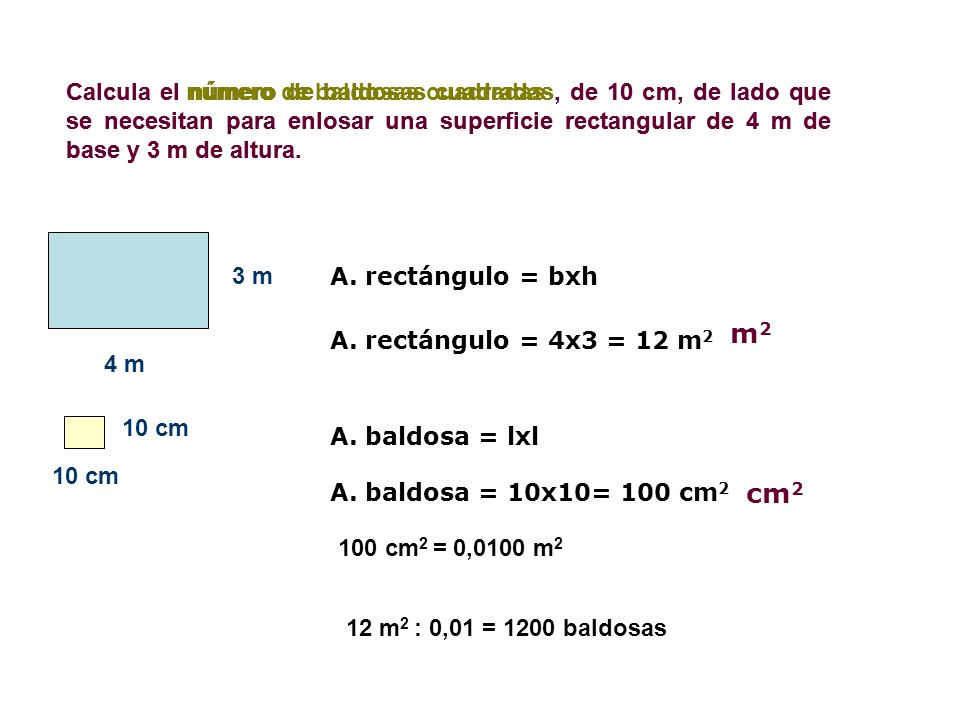 Calcula el número de baldosas cuadradas, de 10 cm, de lado que se necesitan para enlosar una superficie rectangular de 4 m de base y 3 m de altura.
