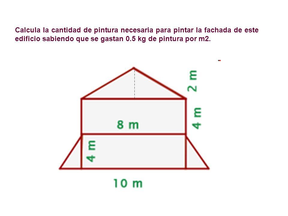 Calcula la cantidad de pintura necesaria para pintar la fachada de este edificio sabiendo que se gastan 0.5 kg de pintura por m2.