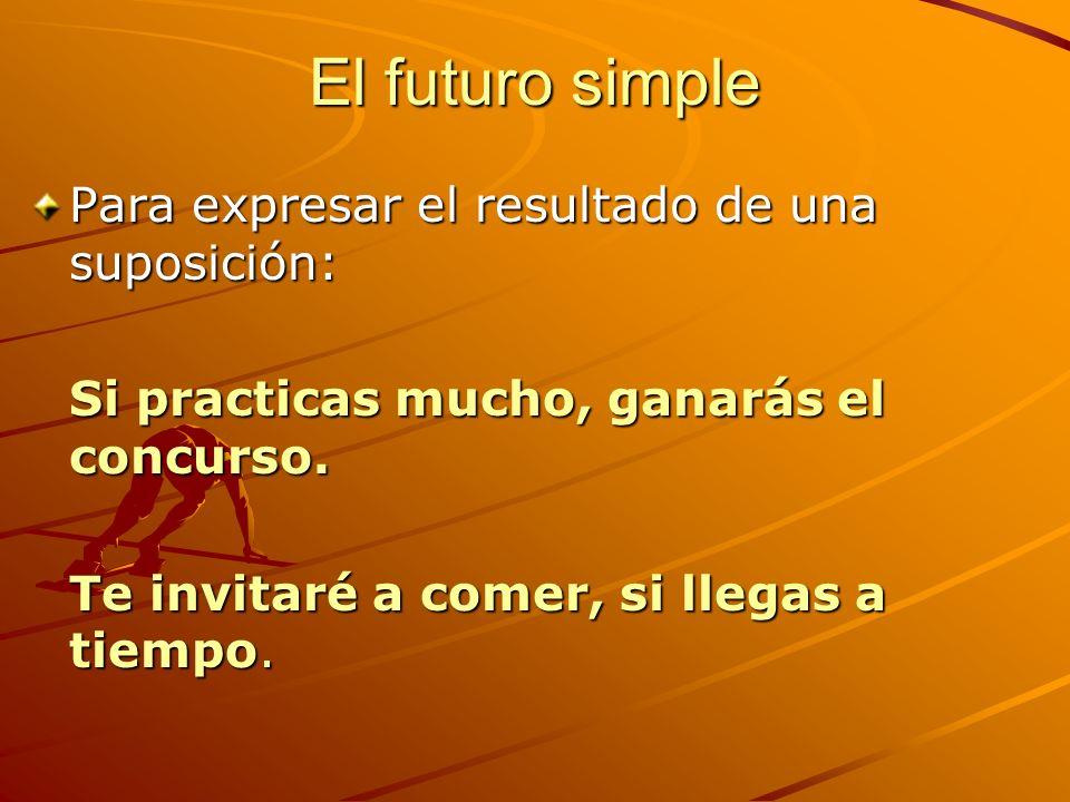 El futuro simple Para expresar el resultado de una suposición: