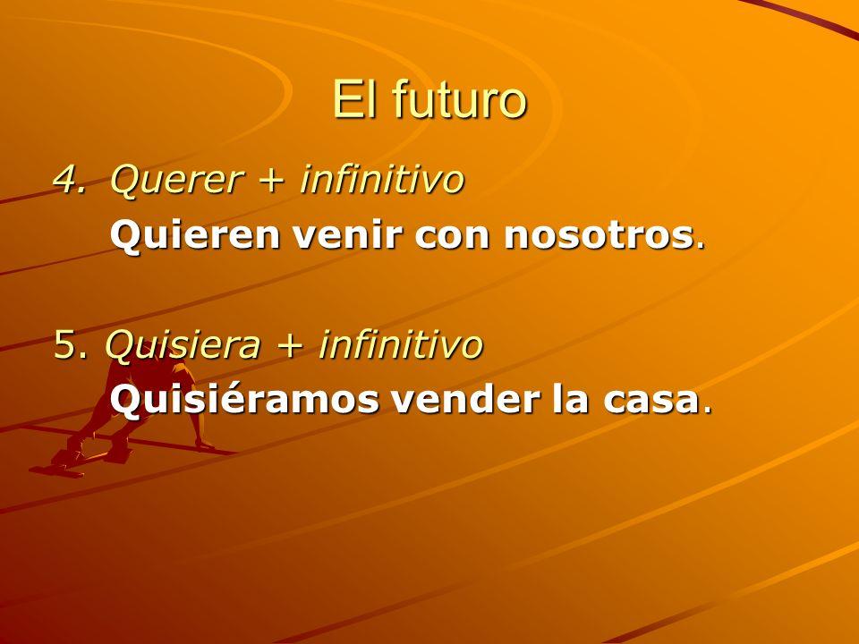 El futuro Querer + infinitivo Quieren venir con nosotros.