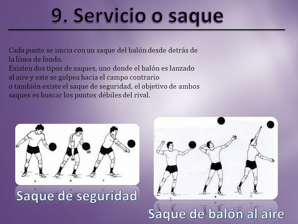 9. Servicio o saque Saque de seguridad Saque de balón al aire
