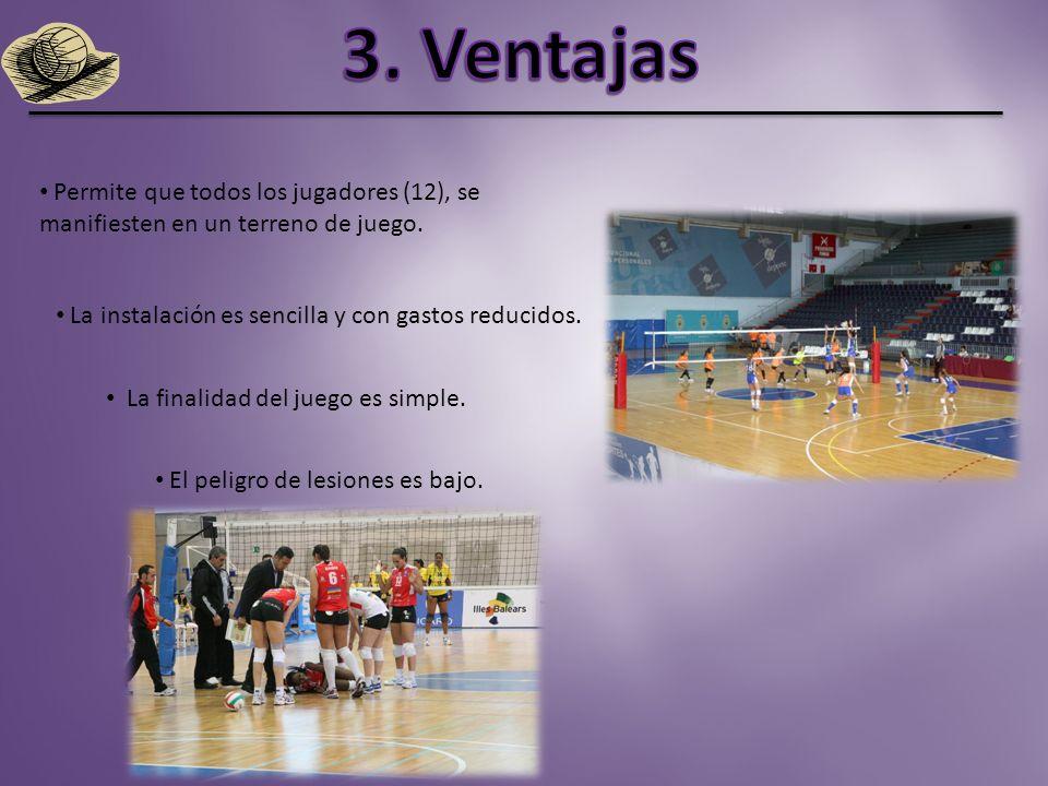 3. Ventajas Permite que todos los jugadores (12), se manifiesten en un terreno de juego. La instalación es sencilla y con gastos reducidos.