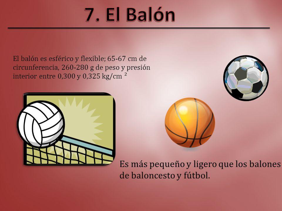 7. El Balón Es más pequeño y ligero que los balones