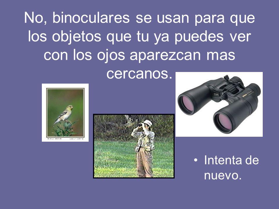 No, binoculares se usan para que los objetos que tu ya puedes ver con los ojos aparezcan mas cercanos.