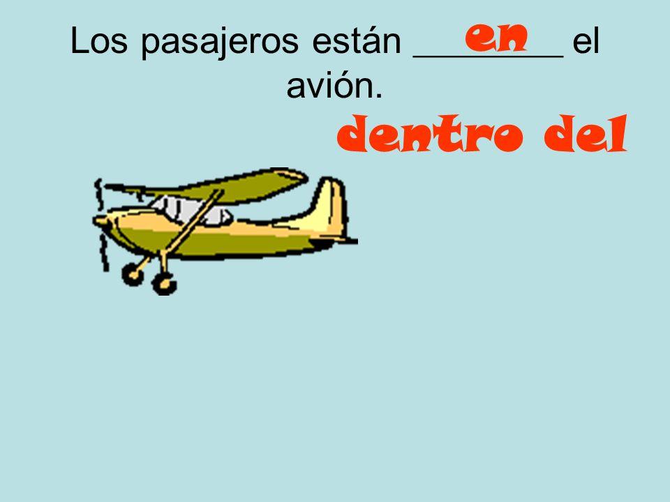 Los pasajeros están ________ el avión.