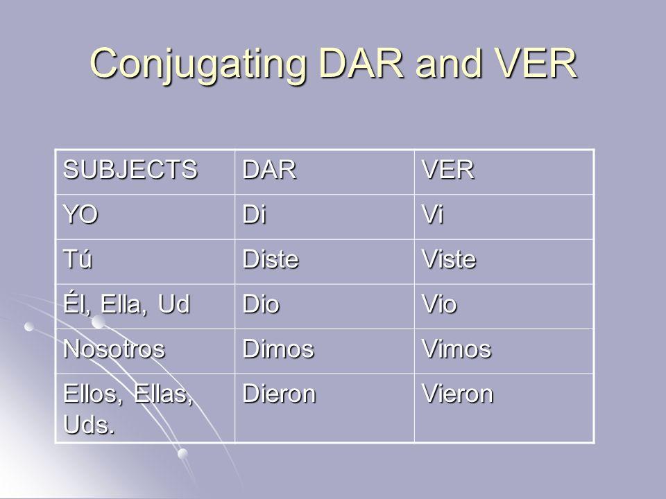 Conjugating DAR and VER