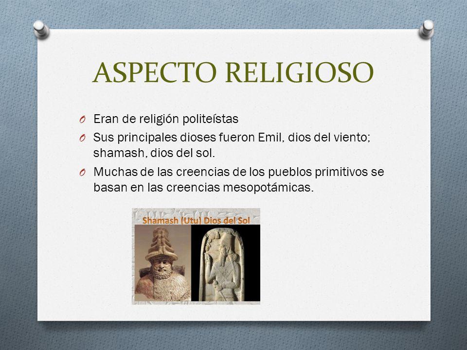 ASPECTO RELIGIOSO Eran de religión politeístas