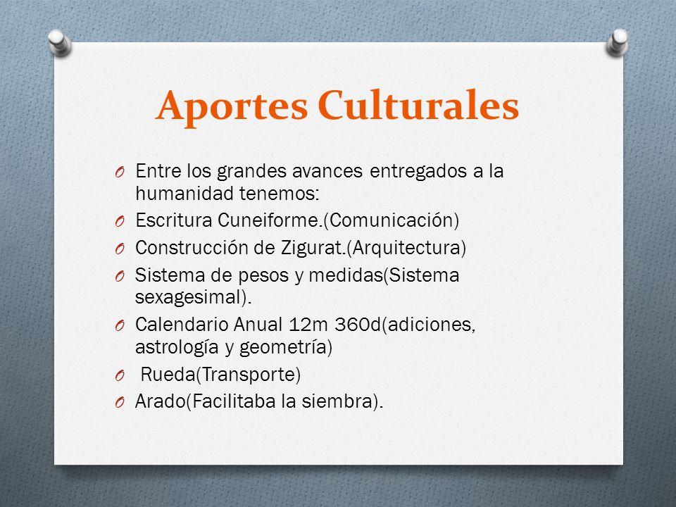 Aportes Culturales Entre los grandes avances entregados a la humanidad tenemos: Escritura Cuneiforme.(Comunicación)