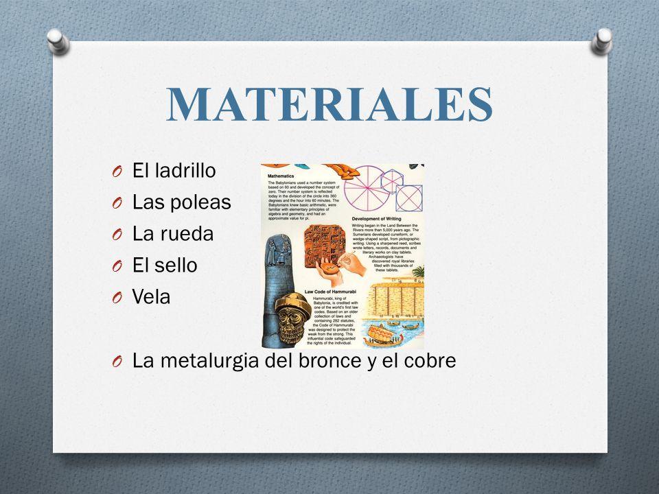 MATERIALES El ladrillo Las poleas La rueda El sello Vela