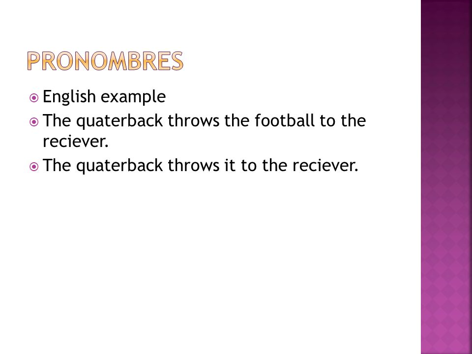 Pronombres English example