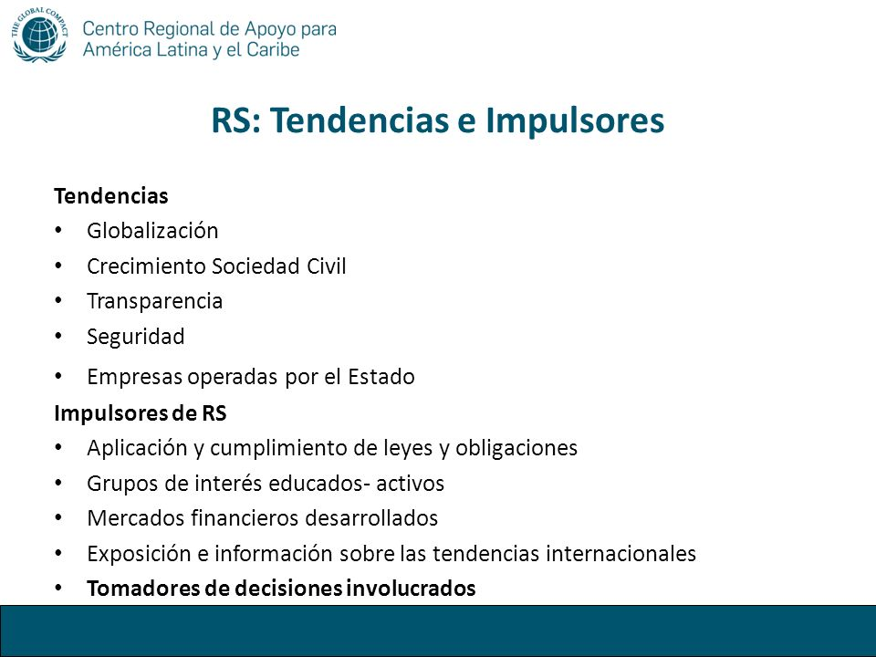 RS: Tendencias e Impulsores