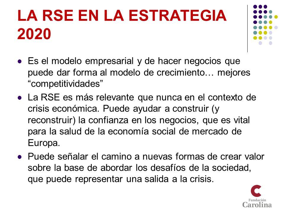 LA RSE EN LA ESTRATEGIA 2020 Es el modelo empresarial y de hacer negocios que puede dar forma al modelo de crecimiento… mejores competitividades