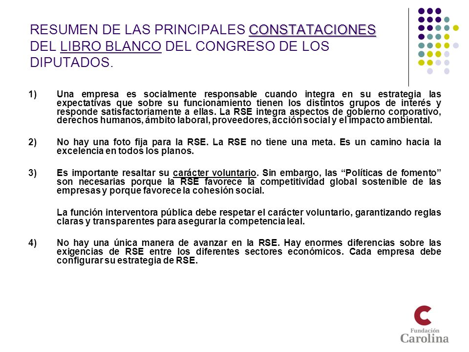 RESUMEN DE LAS PRINCIPALES CONSTATACIONES DEL LIBRO BLANCO DEL CONGRESO DE LOS DIPUTADOS.