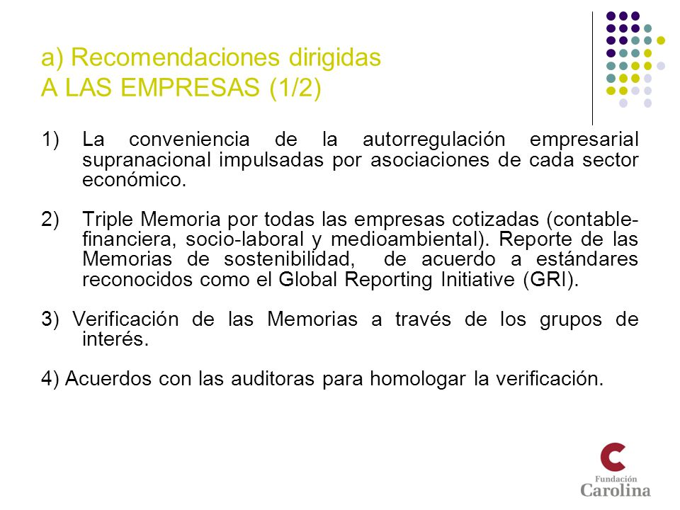 a) Recomendaciones dirigidas A LAS EMPRESAS (1/2)