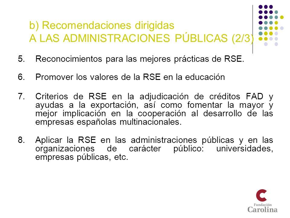 b) Recomendaciones dirigidas A LAS ADMINISTRACIONES PÚBLICAS (2/3)